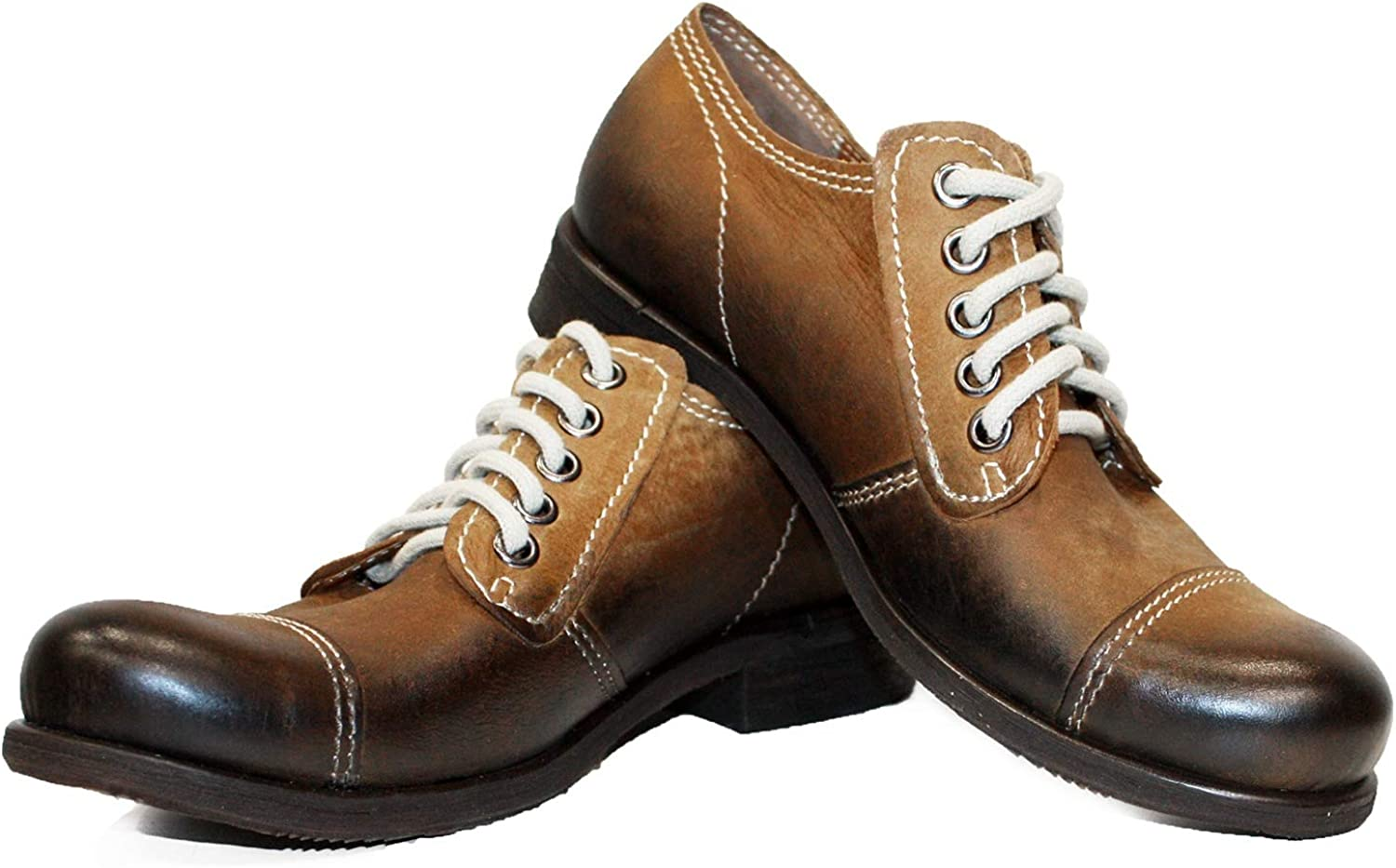 Peppeshoes Modello Jetrello - Handmade Italian Leather Mens color Brown Ankle Boots - Cowhide Hand Painted Leather - Lace-Up
