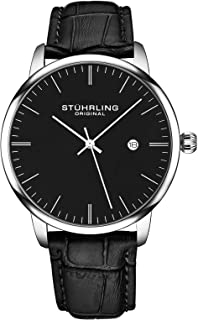 Stuhrling Original Men's Quartz Date Watch, Silver Tone Alloy Case, Black Dial, Black Leather Strap - 3997.2, Analog Display