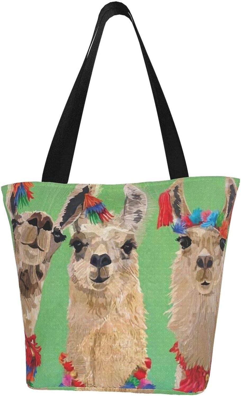 Green Art Three Llama Themed Printed Women Canvas Handbag Zipper Shoulder Bag Work Booksbag Tote Purse Leisure Hobo Bag For Shopping