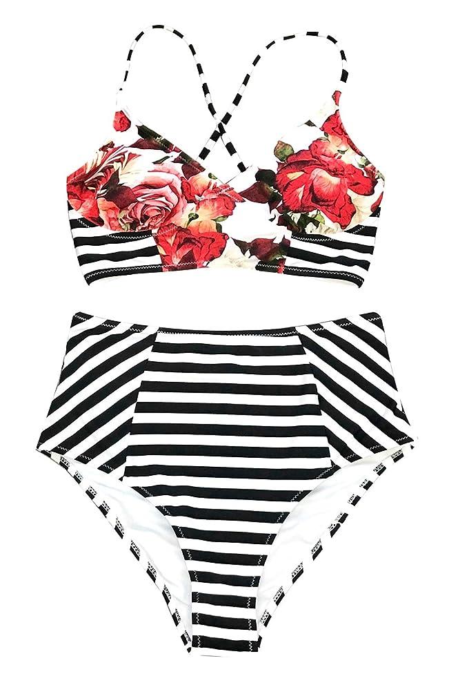CUPSHE Women's Floral Stripe Bathing Suit Lace Lined Two Piece Swimwear