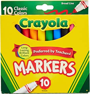Crayola 758114552570 Broad Line Markers, Classic Colors 10 Each (Pack of 24), Case of 24, Count
