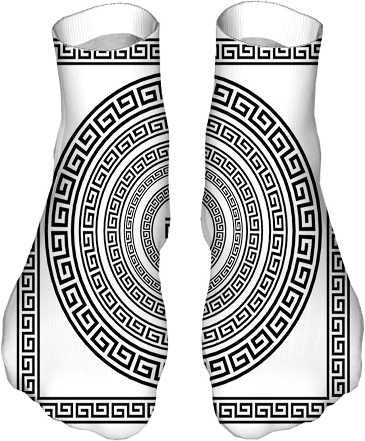 Men's and Women's Funny Casual Socks Traditional Meander Border Set with Square and Circles