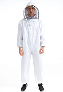 Deceny CB Professional Bee Keeping Suit Cotton Full Body Beekeeping Suit Jacket with Veil Hood (XL)