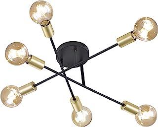 Trio Leuchten 606700632 Cross A++ to E, lampa sufitowa, metal, E27, czarny matowy, 56,6 x 56,6 x 19,11 cm