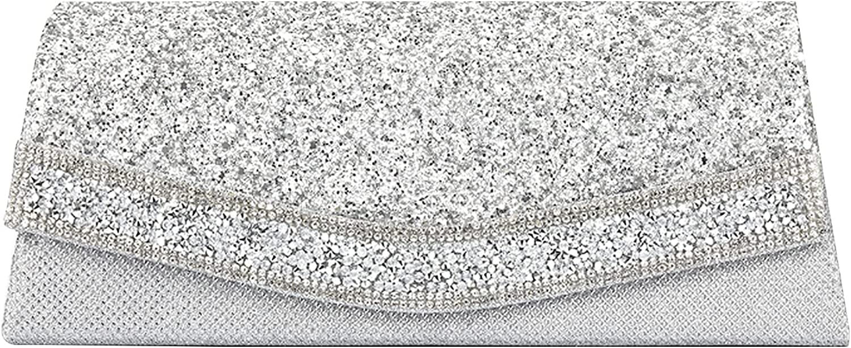 Quniko Shiny Sequins Evening Clutch Handbag Chain Purse Wedding Purses for Bride
