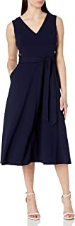 Calvin Klein Women's V-Neck Midi Dress with Side Button Bodice