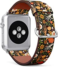 Compatible with Big Apple Watch 42mm & 44mm - Leather Watch Wrist Band Strap Bracelet with Stainless Steel Clasp and Adapters (Halloween Bones Floral)