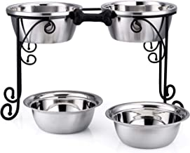 BestVida Elevated Dog Bowls Raised Dog Bowls Double Bowl Stand Stainless Steel Bowls Pet Feeder Comes with Four Stainless Steel Bowls