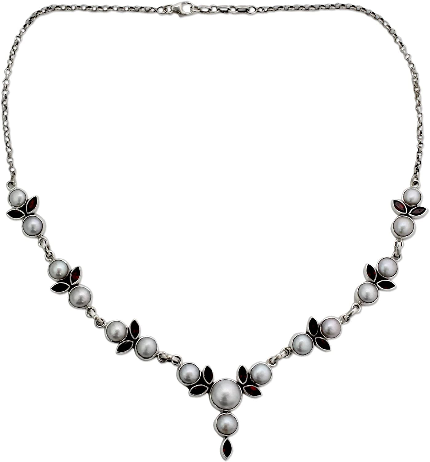 NOVICA Garnet Cultured Max Clearance SALE! Limited time! 63% OFF Freshwater Pearl Nec .925 Sterling Silver