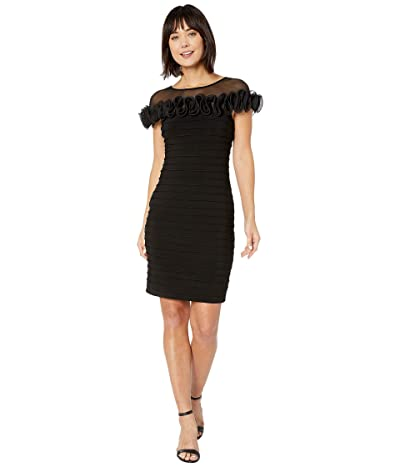 Adrianna Papell Matte Jersey Rosette Sheath Dress (Black) Women