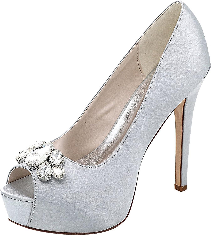 Salabobo Womens Platform Comfort Bride Party Prom Wedding Dress Peep Toe Pumps 3128-01B