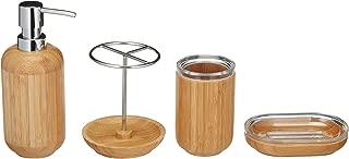 AmazonBasics 4-Piece Bamboo Bathroom Vanity Set, Round