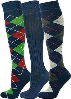 Mysocks, 3 pares de calcetines altos unisex con diseño Multi de la rodilla y algodón peinado extrafino 3 pares de diseño múltiple