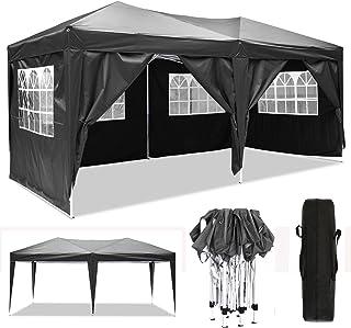 3x3m/3x6m Faltpavillon, Pavillon, wasserdicht gartenpavillon, festzelt partyzelt hochklappbare Gazebo Festival Sonnenschut (3x6m, Schwarz)