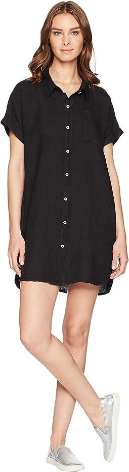 Allen Allen Short Sleeve Button Front Dress