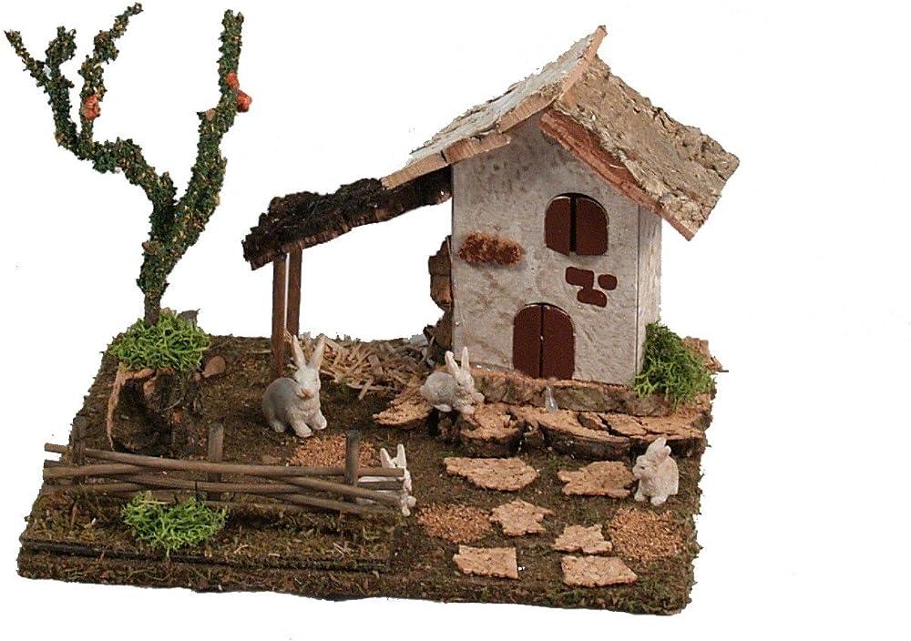 Ferrari & arrighetti,casa e conigli nel cortile,paesaggio del rpesepe Bertoni_50054
