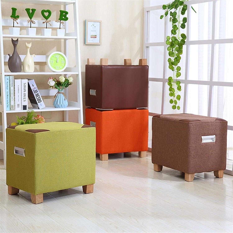 Shengluu Tabouret Pied Repose-Pieds Petit Tabouret Banc Canapé Changement Chaussures Ronde Tissu Famille Moderne Accueil Salon Chambre (Couleur : Brown) Orange