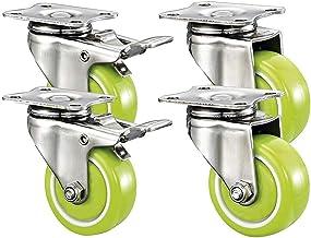 4 stks Meubelwielen 1.5 / 2inch Swivel Polyurethaan Wastoren Veiligheid Dubbele Rem Home Vervanging Onderdelen (Color : E,...