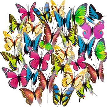 Pflanzkasten Dekoration 24er Set Set aus 20 Schmetterlingen und 4 Libellen Topfstecker Bunte Gartendeko tiroba Deko Schmetterlinge und Libellen auf St/öcken