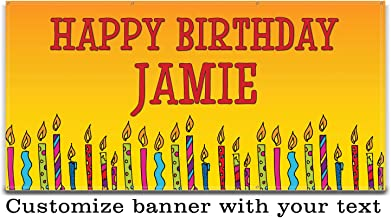 Buttonsmith Candles Birthday Custom Vinyl Banner 3'x6' - Indoor/Outdoor - Personalize with Your Text - Designed, Printed, and Assembled in USA