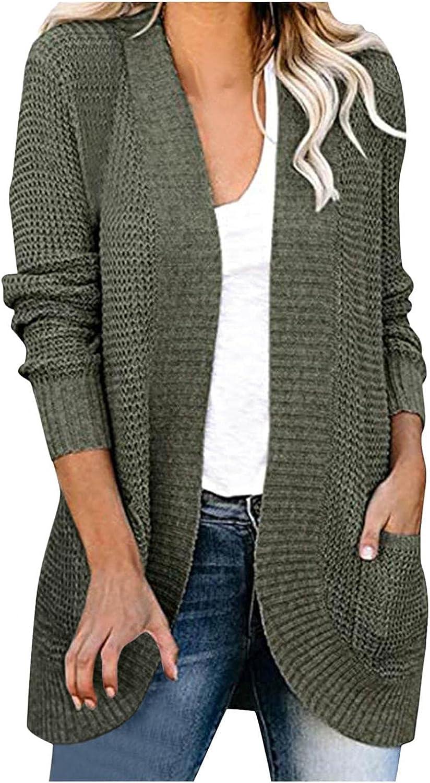 YUNDAN Women's Lightweight Open-Front Cardigan Sweater Solid Long Sleeve Loose Fit Knit Sweater Coat Soft Comfy Outwear