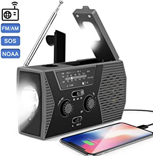 2020 Upgraded Emergency Solar Hand Crank Portable Radio,AM/FM NOAA Weather Radio for Household and Outdoor Survival with LED Flashlight, 2000mAh Power Bank USB Charger, Reading Lamp,SOS Alarm(Gray)