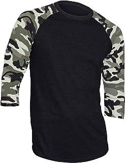 Dream USA Men's Casual 3/4 Sleeve Baseball Tshirt Raglan Jersey Shirt Black/Lt Camo Medium
