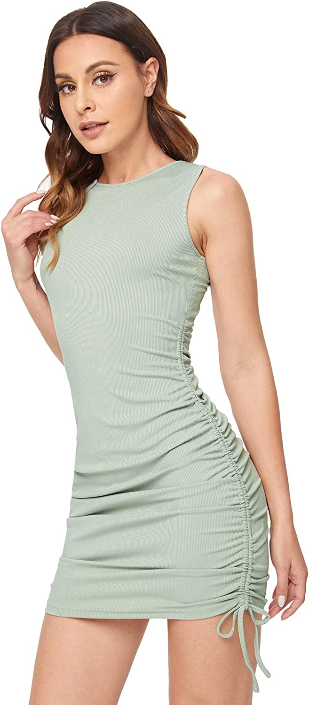 Verdusa Women's Ruched Drawstring Bodycon Dress Sleeveless Rib Knit Bodycon Tank Dress Solid