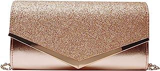 MEGAUK Damen Clutch Glitzer Elegant Abendtasche Glänzend Handtasche Envelope Tasche Strass Unterarmtasche mit Kette für Ho...
