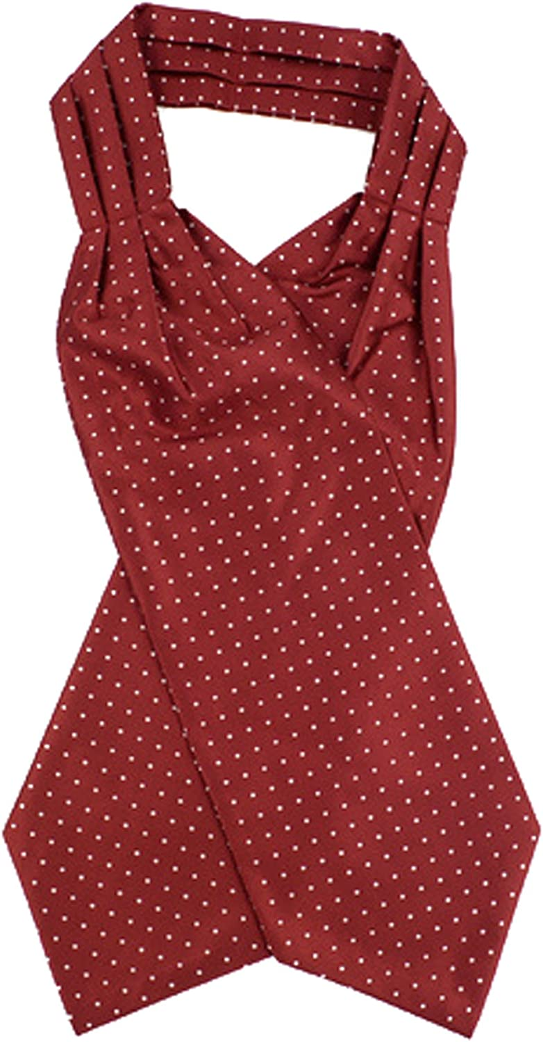 Polka Dots Pattern Microfiber Poly Woven Ascot With Hooks