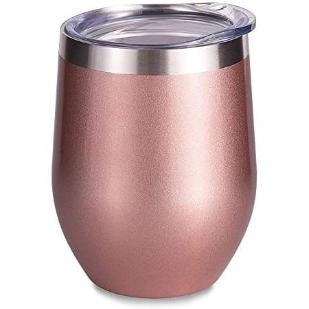 SUNWILL Insulated Wine Tumbler with Lid Rose Gold, Double Wall Stainless Steel Stemless Insulated Wine Glass 12oz, Durable Insulated Coffee Mug, for Champaign, Cocktail, Beer, Office