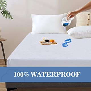 Full Mattress Protector Fitted, Waterproof Mattress Protector Machine Washable Noiseless Hypoallergenic & Soft Breathable Cotton Terry Vinyl-Free Full Mattress Cover for Pets Kids Adults 54