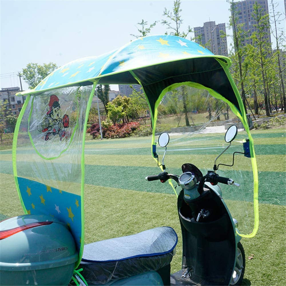 Universal Electric Motorcycle Rain Cover Canopy Awning,Rainproof Sun Shade Cover for Scooters,Battery Car,Motorcycle,A