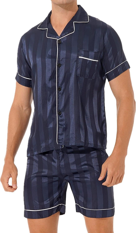 YOOJOO Mens Silky Satin Pajamas Set Short Sleeve Solid Shirt Top with Boxer Shorts Sleepwear Loungewear