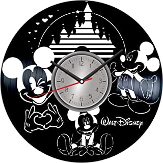 Mickey Minnie Mouse Vinyl Wall Art Clock - Home Decor for Him Her Birthday Christmas Anniversary - Themed Clock for Cartoon Lovers Fans - Kids Living Room Kitchen Wall Art - 12 Inches