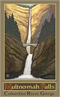 "Multnomah Falls Oregon Columbia River Gorge No Car Travel Art Print Poster by Paul A. Lanquist (12"" x 18"")"