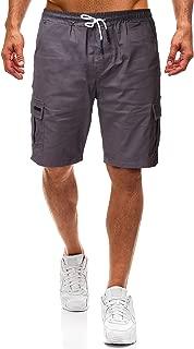 Men's Shorts Cotton Drawstring Beach Elastic Waist Multi Pocket Cargo Shorts