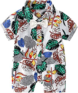 Newborn Baby Clothes Hawaii Short Sleeve Bow Tie Rompers for Infant Boys Girls Leaf Print Button Down Shirt Jumpsuit