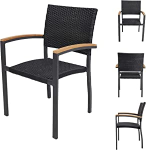 TRY & DO Patio Dining Chairs Set of 4,Outdoor Wicker Stackable Dining Chairs with Wooden Armrest PE Rattan Aluminum Frame Patio Furniture Sets for Garden, Balcony, Lawn and Indoors