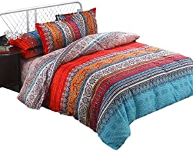 Soft Duvet Cover Set Full 3Pcs Luxury Boho Style Qulit Cover and Pillow Shams Bright Multicolor Retro Printed Pattern Fashion Bedding Sets