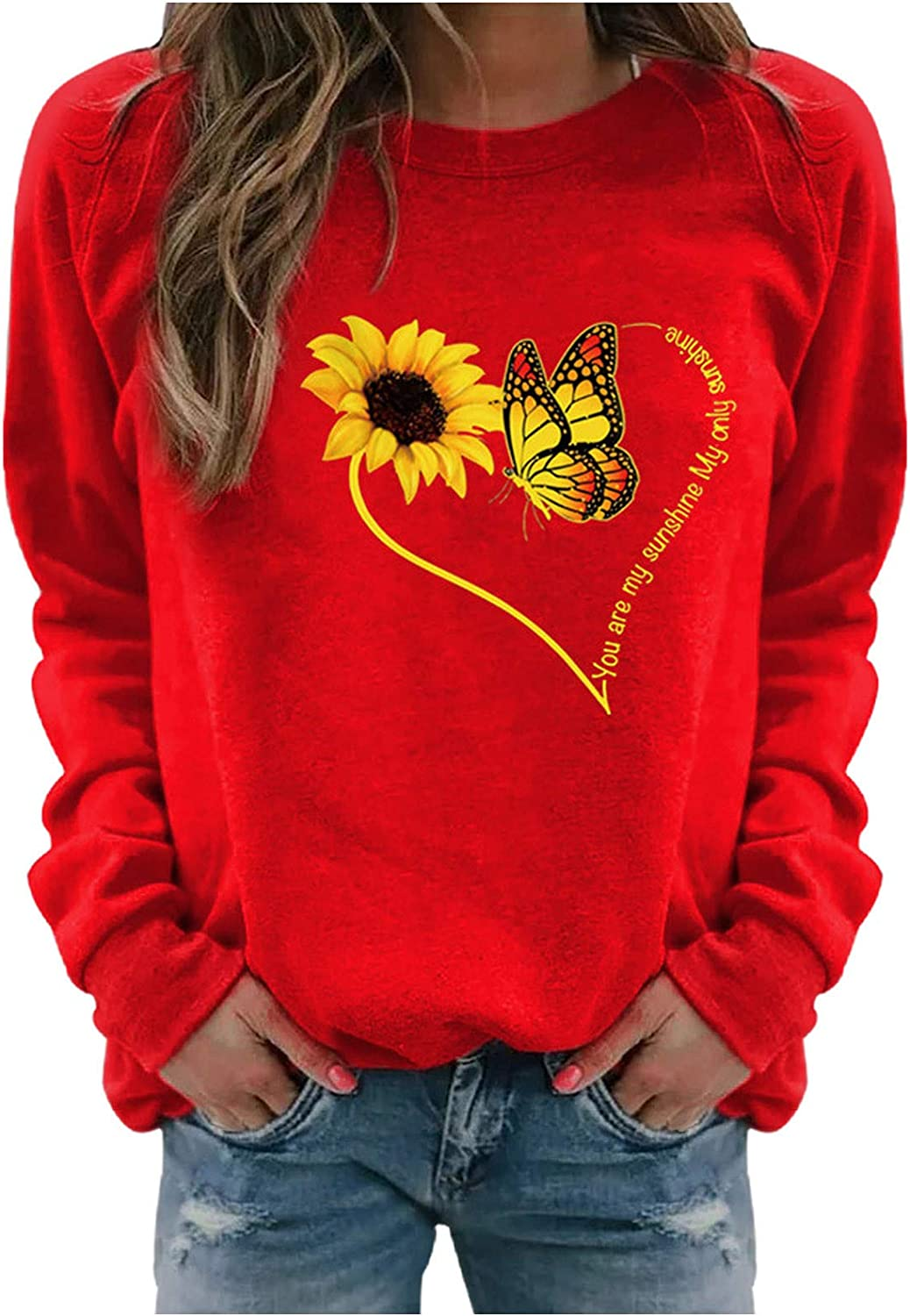 Long Sleeve Crewneck Pullover Tops Funny Sunflower Graphic Casual Shirts Sweater Tunics Sweatshirts for Women