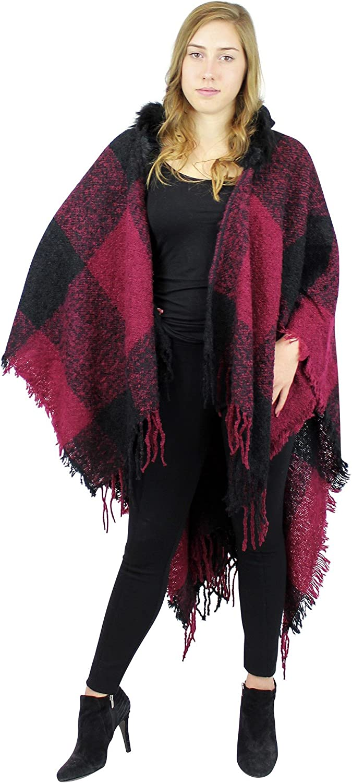 Hooded Checker Shawl Wrap Faux Fur Trimmed