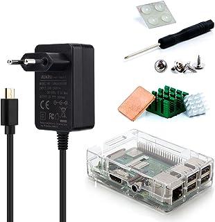 Aukru-Kit 3-en-1 para Raspberry Pi 3Modelo B, Incluye una Caja Transparente, alimentación de 5V-3000mA, y disipador...