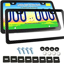License Plate Frame Carbon Fiber -2Pcs Aluminum Plate Frame Carbon Fiber Style Slim Frame Cover (NOT Real Carbon Frames), Black for Front & Rear with Frame Fasteners and Screw Caps