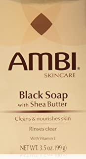 Ambi Skincare Black Soap with Shea Butter, 3.5 Oz (Pack of 2)