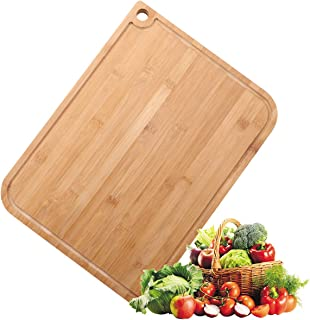 Ivoku Large Organic Bamboo Cutting Board with Juice Groove 1-Piece,Meat Chopping Boards for Kitchen Pizza Peel Paddle & Cu...