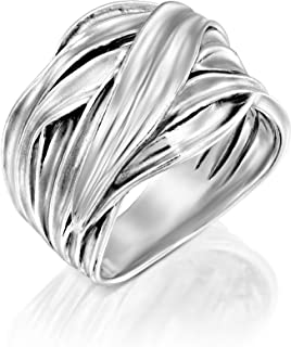 PZ Paz Creations 925 Sterling Silver Highway Statement Ring | Plain Silver Or 14k Plated Two-Tone | Graduated Design Polished Finish | Bohemian Jewelry for Women