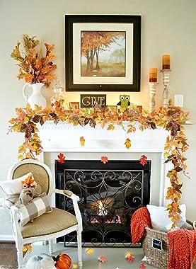 DearHouse 2 Pack Fall Garland Maple Leaf, 6.5 Ft/Piece Hanging Vine Garland Artificial Autumn Foliage Garland Thanksgiving De