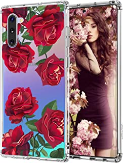 MOSNOVO Galaxy Note 10 Case, Red Roses Floral Flower Pattern Clear Design Printed Transparent Plastic Back Case with TPU Bumper Gel Protective Case Cover for Samsung Galaxy Note 10