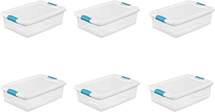 Sterilite 14968006  32 quart/30 L Latching Box with Clear Base, White Lid and Colored Latches, 6-Pack